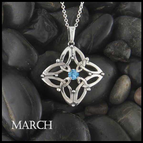 March Birthstone Celtic Trinity Star Pendant