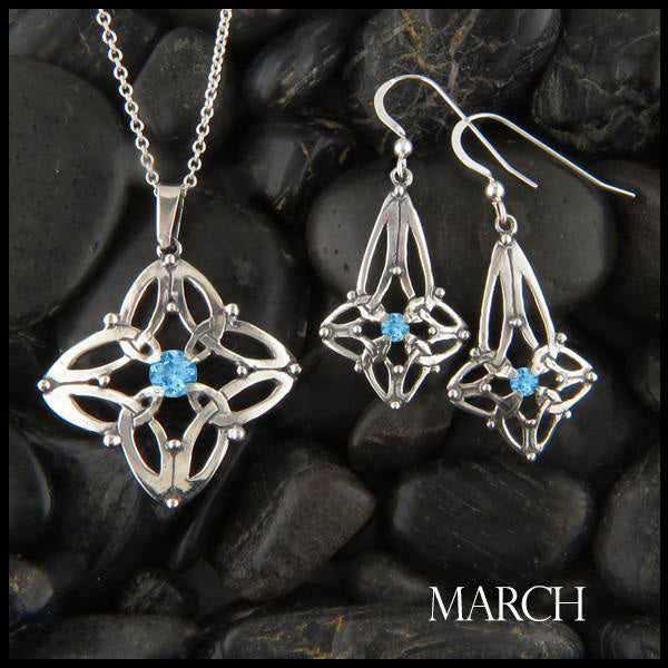 March Birthstone Celtic Trinity Star Pendant and Earring Set