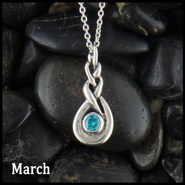 March Celtic Birthstone Pendant in Sterling Silver