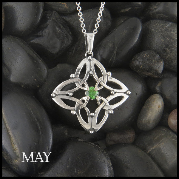 May Birthstone Celtic Trinity Star Pendant