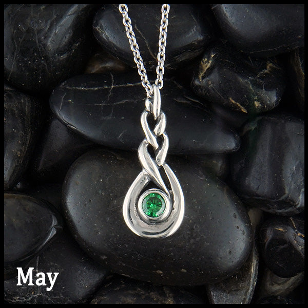 May Celtic Birthstone Pendant in Sterling Silver