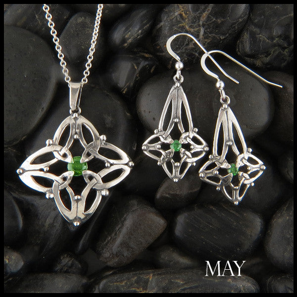 May Birthstone Celtic Trinity Star Pendant and Earring Set