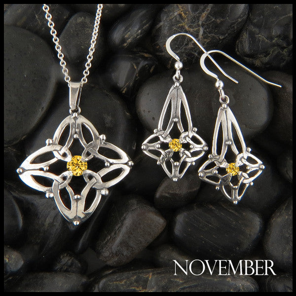 November Birthstone Celtic Trinity Star Pendant and Earring Set