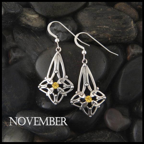 November Birthstone Celtic Trinity Star Earrings in Silver