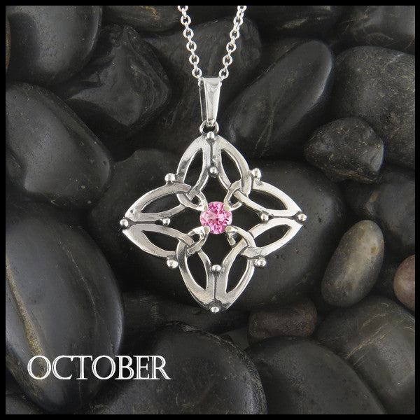 October Birthstone Celtic Trinity Star Pendant
