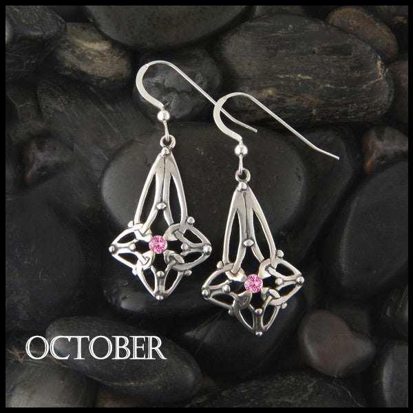 October Birthstone Celtic Trinity Star Earrings in Silver