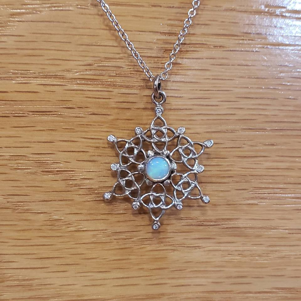 Custom White Gold Celtic Starlight Snowflake with Diamonds