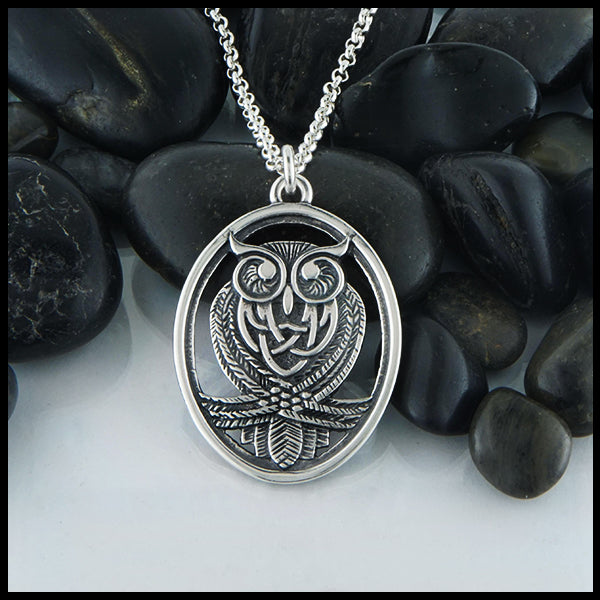 Celtic Owl Pendant in Sterling Silver