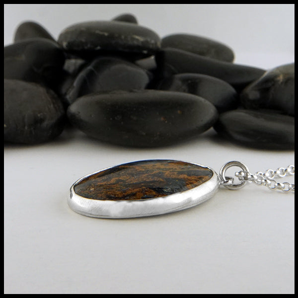 Custom pietersite oval pendant