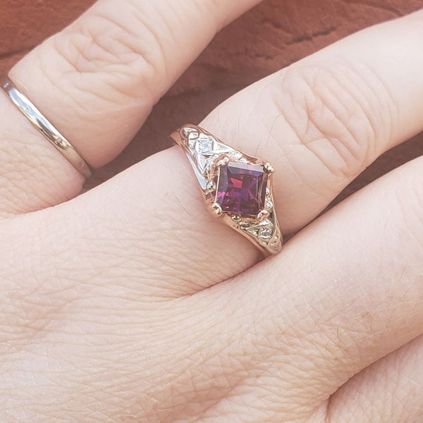 Purple Garnet Trinity Ring