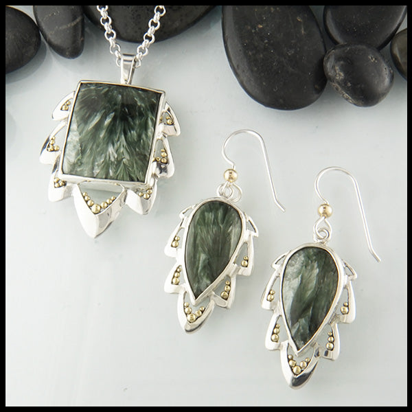 Handmade Seraphinite Pendant and Earring set by Walker Metalsmiths