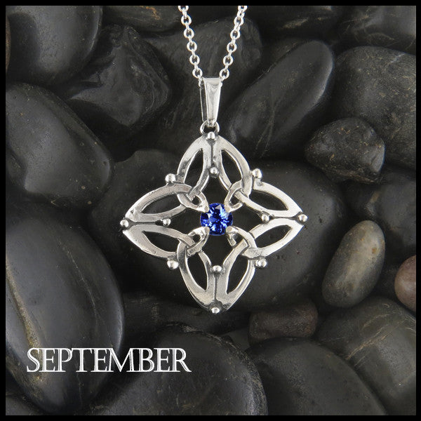 September Birthstone Celtic Trinity Star Pendant