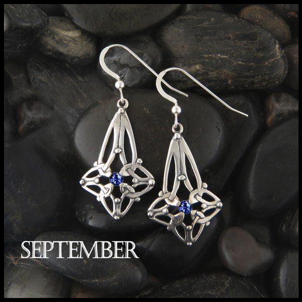 September Birthstone Celtic Trinity Star Earrings in Silver