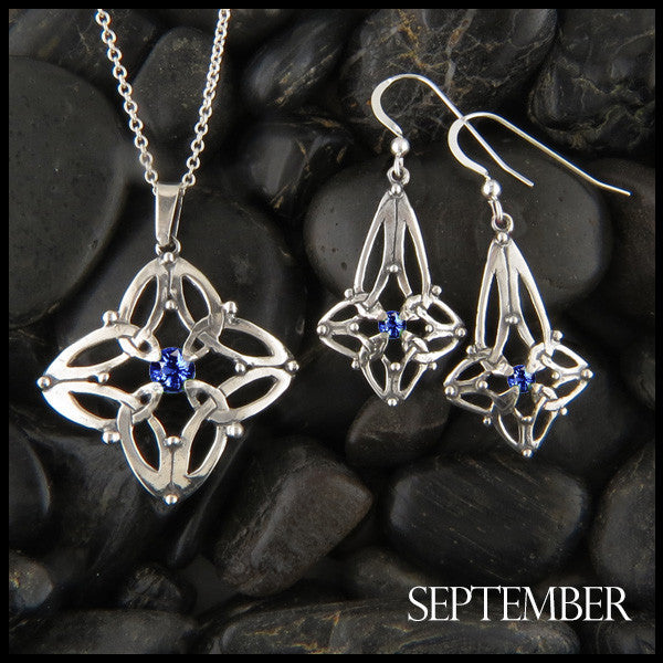 September Birthstone Celtic Trinity Star Pendant and Earring Set