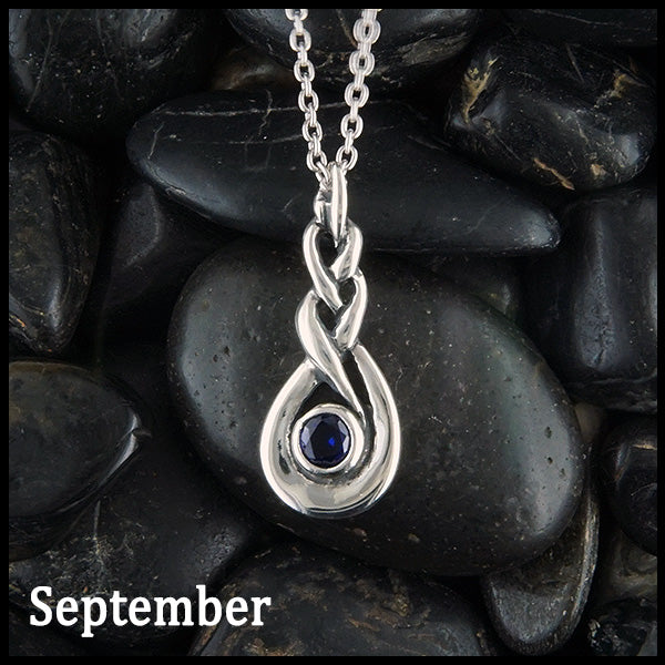 September Celtic Birthstone Pendant in Sterling Silver
