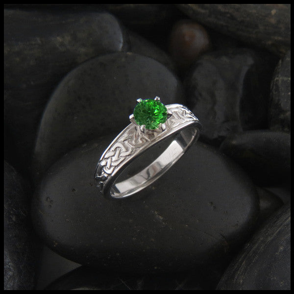 Tapered Knot Ring with Green Tsavorite
