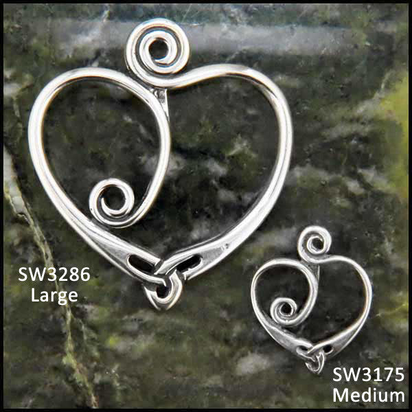 Celtic Spiral heart pendant in Sterling Silver