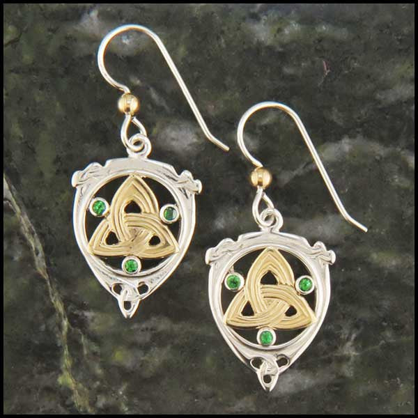 Triquetra and Tsavorite Drop earrings in Gold and Silver