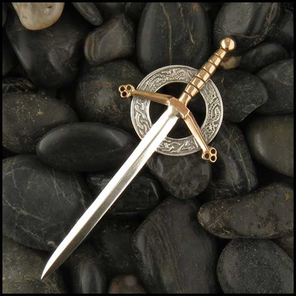 Sword Kilt Pin in Bronze and Sterling Silver, Sterling Silver, Bronze, Sword Kilt Pin, JM2, John McHenry,  Hilt
