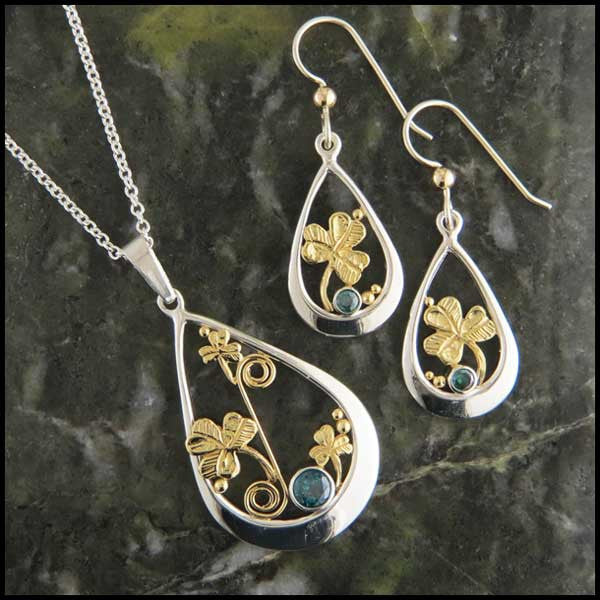 Sterling Silver and Gold Shamrock pendant and earring set