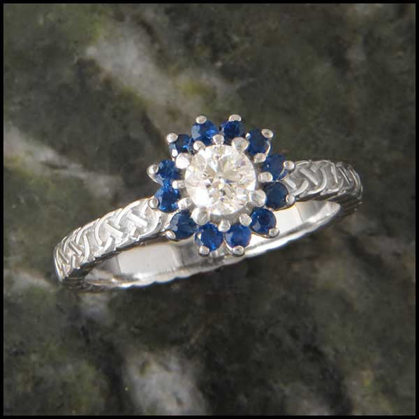 Josephine's Knot, Lover's Knot Sapphire and Diamond Halo Celtic Solitaite