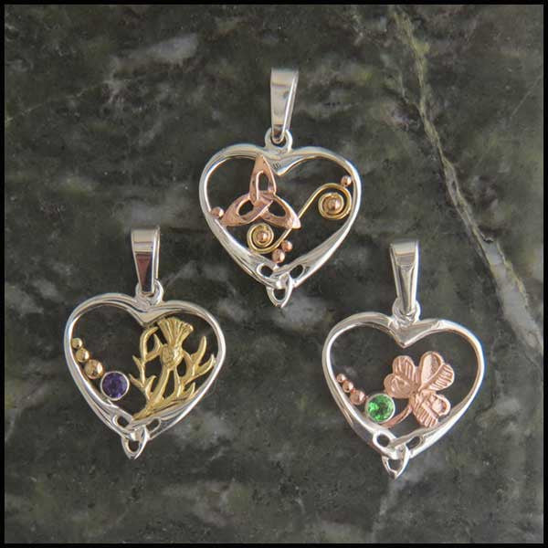 Heart pendant in silver and 14k gold walker metalsmiths celtic jewelry celtic heart pendants in sterling silver and gold aloadofball Images