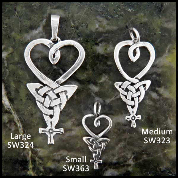 Heart, Triquetra, and Celtic Cross pendant in Sterling Silver