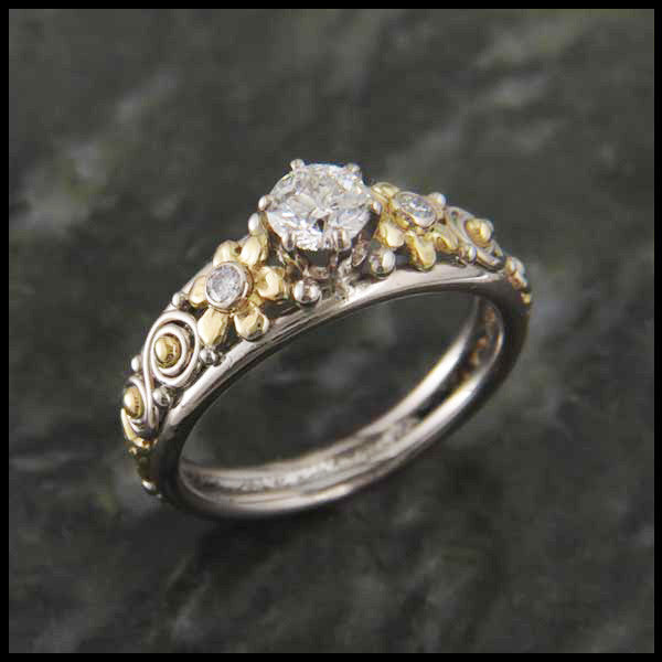 Floral Daisy and Diamond Custom Ring