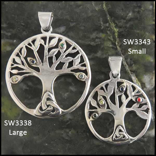 Celtic Tree of Life pendant in Sterling Silver with birthstones