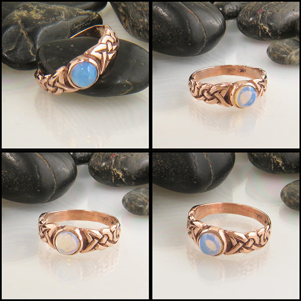 Moonstone Spiral Knot Celtic Ring with Gemstones in 14K Gold