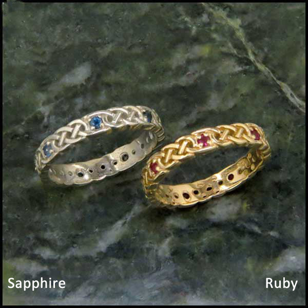 Josephine's Knot Wedding Band, Stacking Ring with Sapphire and Ruby