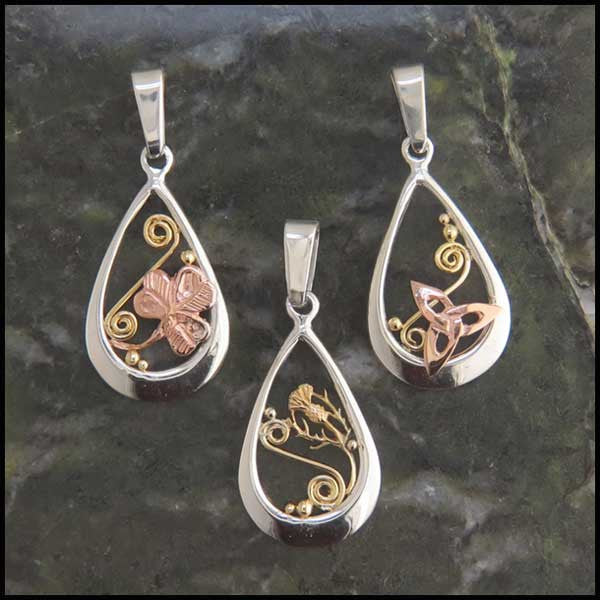 Celtic teardrop pendants in Sterling Silver and Gold