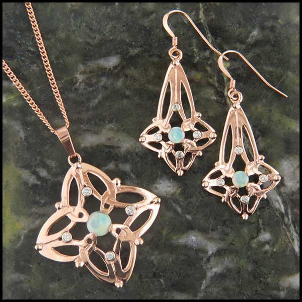 Triquetra Drop earrings with Opals and Diamonds set
