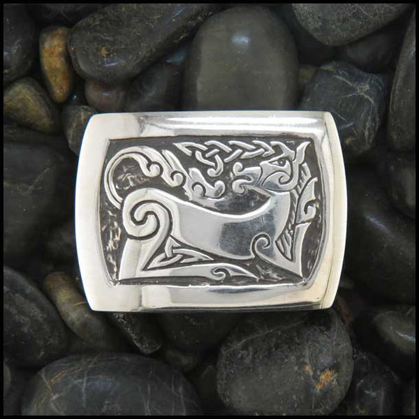 Celtic Horse Belt Buckle in Sterling Silver