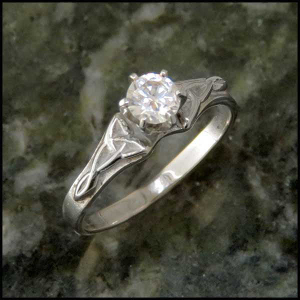 Simple Trinity Knot Diamond Celtic Engagement Ring Solitaire