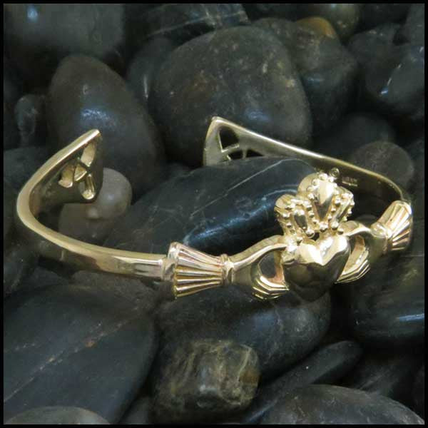 Gold Claddagh Cuff Bracelet with Diamonds