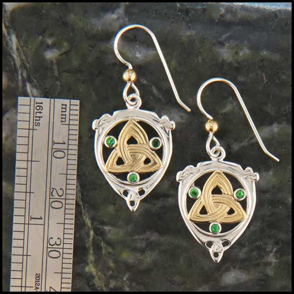 Trinity and Tsavorite Drop earrings in Gold and Silver
