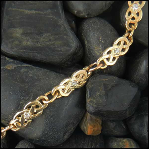Gold Josephine's Knot link bracelet with Diamonds