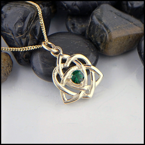 Trinity Knot Heart Pendant with Tsavorite or Amethyst