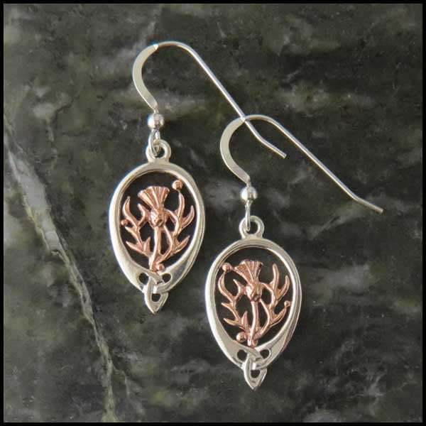 Celtic Knot drop earrings in Sterling Silver and Gold