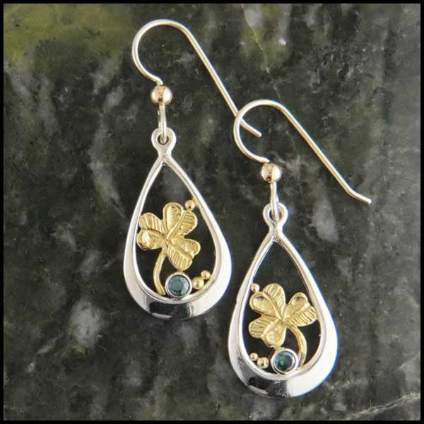 Teardrop and Shamrock Earrings in Gold and Silver