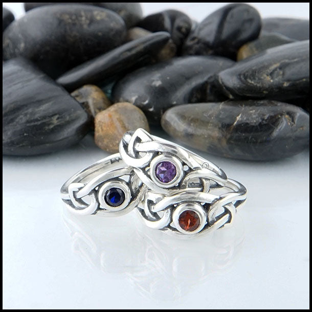 Fiona Knot Ring in Amethyst, Garnet, or Sapphire
