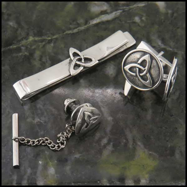 Triquetra or Trinity Knot Mens Sterling Silver Jewelry Set