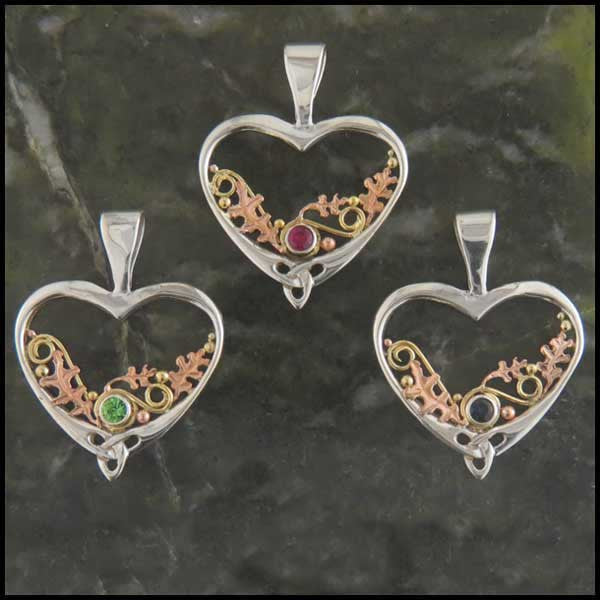 Celtic heart oak leaf pendant in Sterling Silver and Gold