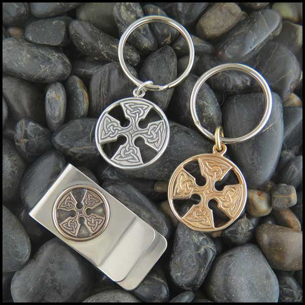 Medallion Celtic Cross Men's Jewelry Set in Sterling Silver and Bronze.
