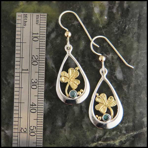 Teardrop and Shamrock Earrings with Topaz