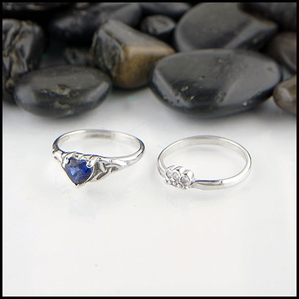 Sapphire Claddagh Two Ring Set