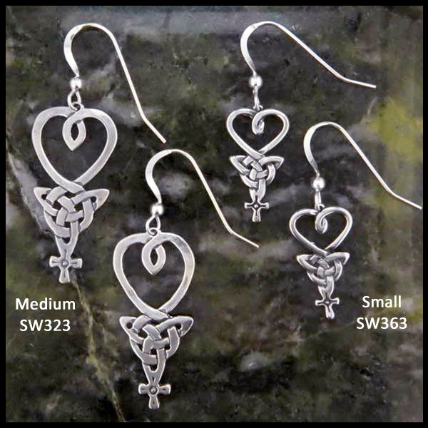 Celtic Drop An Teor earrings in Sterling Silver two sizes