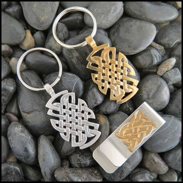 Men's St. Andrew Celtic Knot Gift Set with Key Chain and Money Clip in Sterling Silver or Bronze