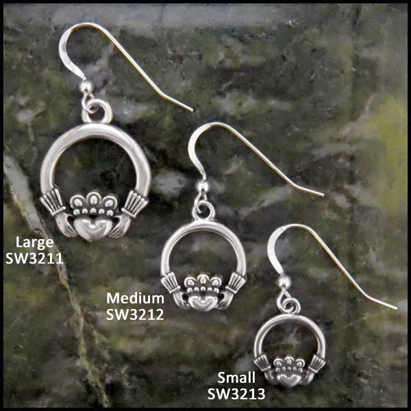 Claddagh Drop Earrings in three sizes